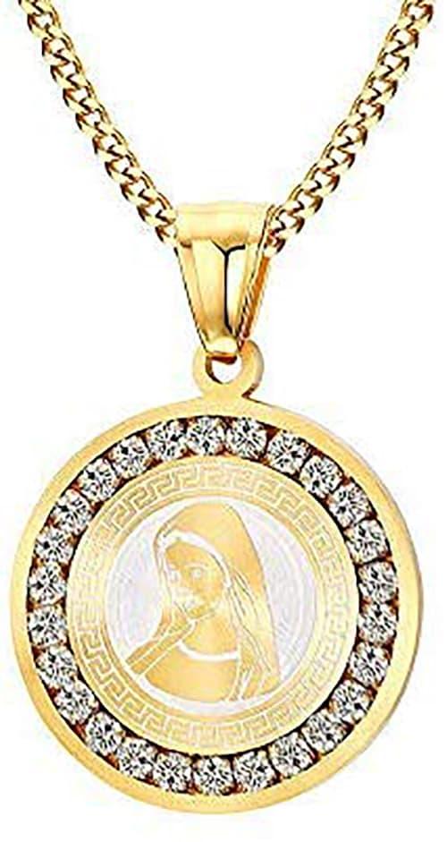 CHIFEI Collar Cadena Hombre Mujer de Acero Inoxidable de Figura Cruz Jesus con La Oración del Padre Nuestro Dije Medalla Oro Virgen María