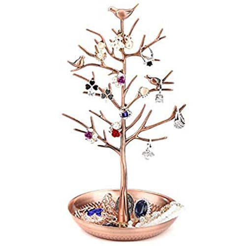 HomeChi Soporte de exhibición de joyería, Caja de joyería soporte de exhibición de joyería de pie de árbol de pájaros Organizador Torre Pendiente multifunción Collar Anillo Pulseras Soporte de estante para niña Mujer