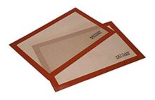 """Alfombrilla de silicona para hornear para galletas de tamaño medio con regla, Borde rojo, Rojo/Bronceado, 16.5"""" x 11"""", 2-Pack, 1"""