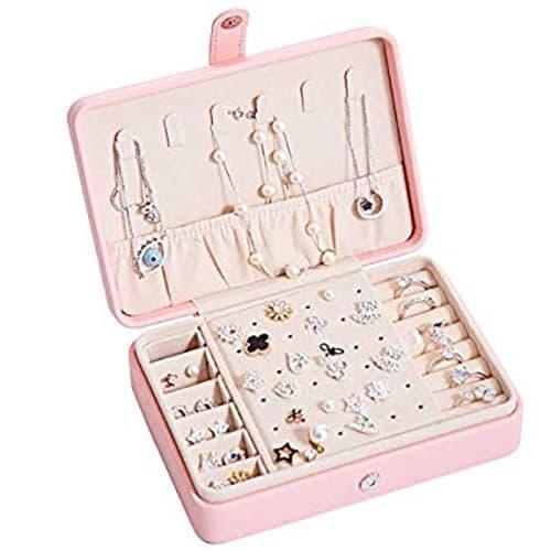 PUBAMALL Joyero de viaje pequeño, Reloj para organizador de joyas con cierre de almacenamiento, Soporte de joyería para aretes Pulseras Anillos (1 capas, Rosa)