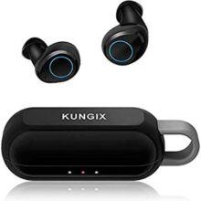 Kungix Audífonos Bluetooth Inalámbricos, Control Táctil Auriculares Bluetooth 5.0 HD Estéreo IPX5 Impermeable Auriculares Bluetooth Deportivos con Micrófono Incorporado para iPhone y Android