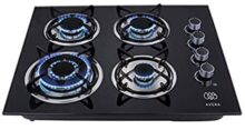 AVERA VT4 Parrilla a gas de Empotrar con 4 Quemadores en Vidrio Templado, color Negro. Estufa para cocina.