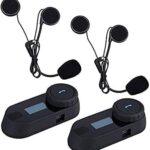 Boblov TCOM-SC Intercomunicador de Casco de Motocicleta Bluetooth Pantalla LCD Headset Radio de FM/Música del Teléfono/GPS/Alcance 800M (2 Piezas)