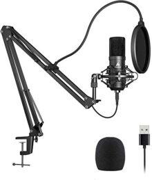 Kit de micrófono USB 192KHZ / 24BIT Plug & Play MAONO AU-A04 Computadora USB Cardioide Mic Podcast Micrófono de condensador con chipset de sonido profesional para PC Karaoke, YouTube, grabación de juegos