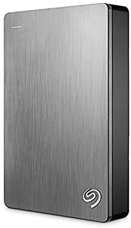 Seagate Backup Plus Slim Disco duro portátil con respaldo de dispositivos móviles, USB 3.0, 5 TB, plateado