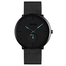 Skyera Relojes Hombre De Malla Ultra Fino Negro para Hombres Relojes De Pulsera De Moda Minimalista Relojes Hombre Casual Reloj Hombre De Cuarzo Impermeable