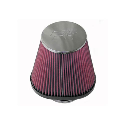 K&N RC-70031 Universal Clamp-On Air Filter: Oval Straight; 3.938 in (100 mm) Flange ID; 5 in (127 mm) Height; 6.875 in x 5.313 in (175 mm x 135 mm) Base; 4.5 in x 3.25 in (114 mm x 83 mm) Top