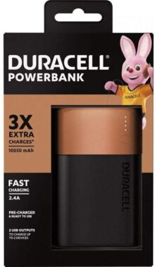 Duracell hasta 3 Cargas Extra 10050mAh PowerBank, Color Copper & Black
