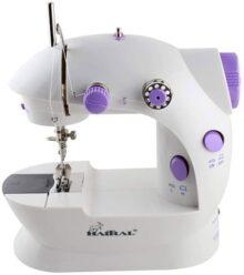 HAITRAL Mini máquina de coser, portátil máquina de coser ajustable de 2 velocidades doble hilo con pedal de pie