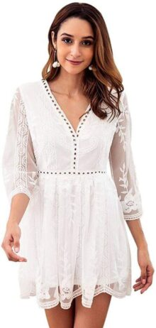 GLOGLOW Vestido de Verano de Las Mujeres, Elegante Encaje Blanco de Cintura Alta con Cuello en v Vestido Corto(S)