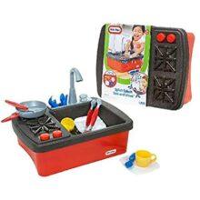 little tikes Splish Splash Sink & Stove Kitchen & Food - Juguetes de rol para niños (Estuche de Juego, Cocina y Comida, Cualquier género, Negro, Rojo, De plástico, CE)
