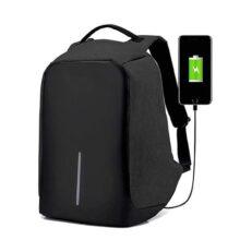 RedLemon Mochila Antirrobo Impermeable con Cable USB para Power Bank, Ideal para Laptop, Tablet y Cámara. Múltiples Compartimentos, Bolsillos Ocultos, Cinta Reflejante, contra Agua. Negro