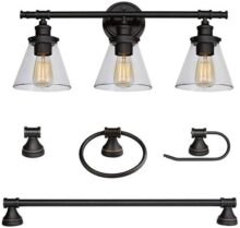 Globe Electric Parker 5-Piece All-In-One Bath Set, Oil Rubbed Bronze Finish, 3-Light Vanity, Towel Bar, Towel Ring, Robe Hook, Toilet Paper Holder, 50192