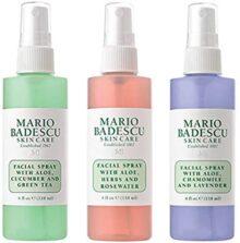 Mario Badescu Spritz Colección de spray facial con niebla y brillo, juego de 3 piezas, lavanda, pepino, rosa