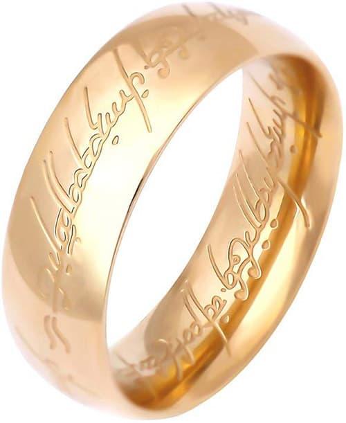 Lureme A1000002 - Anillo de acero inoxidable con grabado, tono dorado para hombres, mujeres, adolescentes, niñas, talla 7-9