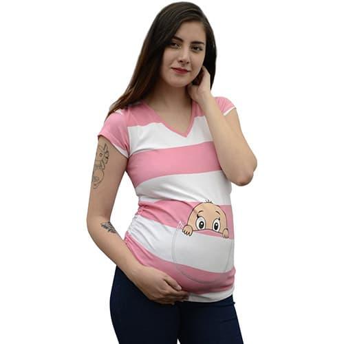 Julianne Maternity Playera Bebé Canguro Estampada Diseñada en Algodón Color Menta Mod.1408