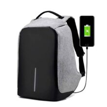 RedLemon Mochila Antirrobo Impermeable con Cable USB para Power Bank, Ideal para Laptop, Tablet y Cámara. Múltiples Compartimentos, Bolsillos Ocultos, Cinta Reflejante, contra Agua. Gris