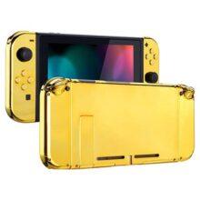 eXtremeRate Carcasa para Nintendo Switch Funda completa del Mando y la consola trasera de NS Joy-Con Shell de bricolaje reemplazable con Botón completo para el Nitiendo Switch Oro cromado