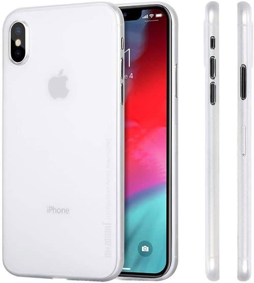 "MEMUMI Funda para iPhone XS 2018 5.8"", Ultra Thin 0.3 mm Case Protectora Trasera con Matte Finish Coating Carcasa Compatible con iPhone XS [Scratch Resistant] [Anti Fingerprint] Blanco Transparente"
