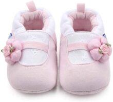 Nagodu Zapatos Tipo Pantufla para Bebe niña, Rosas con Blanco y floresita Rosa, Super Suaves y cómodos, Diferentes Tallas