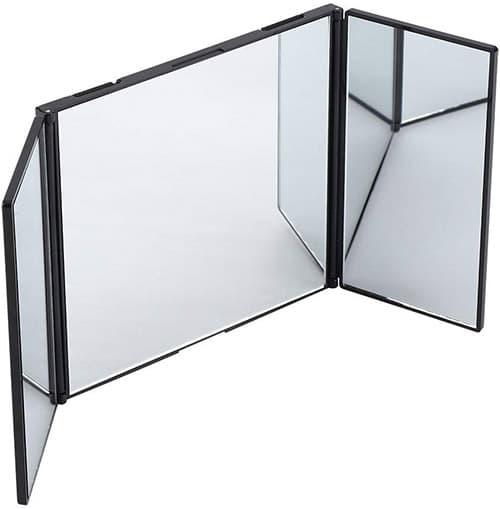Car Sun Visor Espejo, Espejo de Maquillaje Plegable tríptico Espejo de vanidad Suministros del automóvil Interior del Coche Espejo del Visera del Sol Accesorio Decorativo montado fácil
