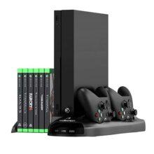 Redlemon Base y Ventilador para Xbox One X, Estación de Carga Dual para Controles, Soporte Vertical tipo Stand con Cajón Desplazable para Videojuegos, 3 Puertos USB Adicionales