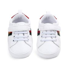 Nagodu Zapatos para Bebe Unisex Blanco con Rojo y Verde, Varios tamaños, Muy Suaves con Velcro y Cintas