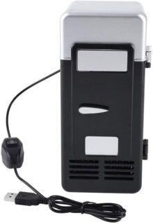 Yosoo123 LED Mini USB Refrigerador para Bebida y Cerveza Congelada Auto Refrigeradores y Calentadores para Viajar (Negro)