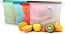 Redlemon Bolsas Ecológicas de Silicón Reutilizable de 1.5 Litros (4 Piezas) para Alimentos. Sellado Hermético Antiderrame, Libres de BPA, Ideales para Congelador y Microondas. Grandes