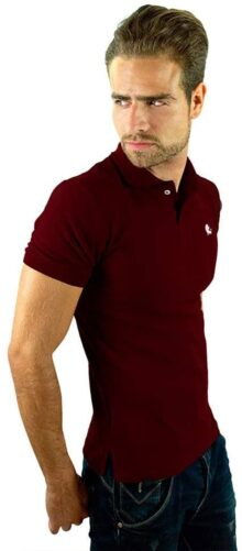 VALDOV Playera Polo para Caballero Slim Fit Vino/Blanco