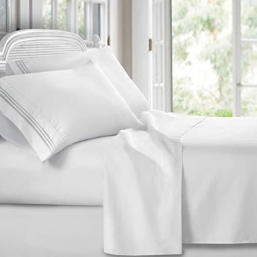 Clara Clark Premier 1800Collection Hoja de cama Set, Juego de sábanas 4 piezas, Blanco, Tamaño King