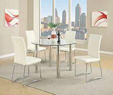 Poundex F2200 Mesa para Comedor Estilo Moderno con Patas Cromadas