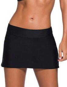 Bsubseach Mujer Color Sólido Shorts de Baño con Cordones Tallas Grandes Abajo de Bikini de