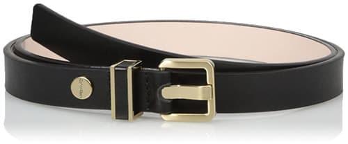 Calvin Klein - Cinturón semibrillante para mujer, 20 mm, con bucle de metal con incrustaciones de piel