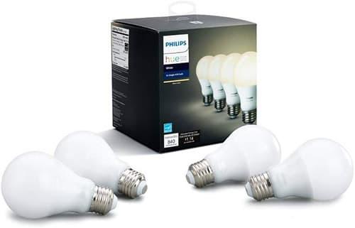 Philips HUE LED - Pack de 4 Lámparas E26, 9.5W, A19, Luz Blanco (Blanco cálido)