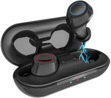 Kungix Audífonos Bluetooth Inalámbricos 5.0, IPX7 Impermeable Auriculares Bluetooth Inalámbricos Control Táctil Auriculares Bluetooth Deportivos para Gimnasio Carrera a Pie Ciclismo Entrenamiento