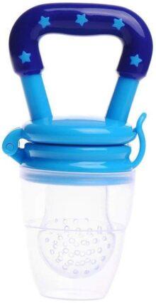 Chupete para bebé Creativo Alimentador del bebé Chupete de silicona Herramienta de alimentación del bebé Chupete suave para alimentos Fruta Leche Uso Azul