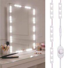 Luces de Espejo de Tocador, LED Espejo Vanidad Luces Kit con 60 Bombillas LED,Estilo Hollywood,Luces de camerino, DIY Lámpara para Espejo de maquillaje, Luces Modulos para Mesa de Maquillaje, Baño Espejo,Vestidor, Armario,Estantería,Tocador [Clase de eficiencia energética A+]