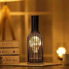 Luz de noche, Younar LED Luz Nocturna Elegante Alambre Cobre Artesanía de Hierro Botella Vino Lámpara Luz Decorativa de Ahorro Energía Adecuado para Habitación de Bebé Sala de Estar Dormitorio Oficina (Botella de vino)