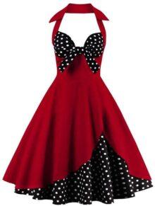 Vestidos mujeres con cuello en V de moda para damas de color rojo Mezcla de algodón sin respaldo Ropa de estilo sexy sin mangas de fiesta vestido de bola vestido de fiesta, con un lazo de lunares