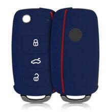 kwmobile Funda de Silicona para Llave de 3 Botones para Coche VW Skoda Seat - Carcasa Protectora Suave de Silicona - Case Mando de Auto Azul Oscuro/Rojo