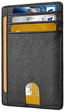 Cartera Delgada RFID Bloqueo Minimalista Titular de la Tarjeta para Crédito Tarjetero Carteras de Cuero Regalo Hombres Mujeres Slim Wallet RFID Blocking Minimalist Credit Card Holder Leather Wallets