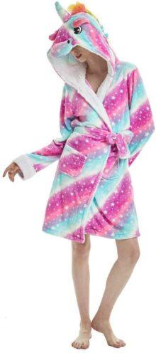 Yimidear Mujer Pijamas de Unicornio, Unicornio Bata de Baño Onesies Adultos Pijamas de Animales Camisón de Dibujos Animados Suave Ropa de Dormir con Capucha Halloween Navidad Cosplay Túnica