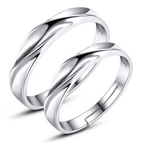 Anillo de plata de ley 925 con circonita cúbica de eternidad, anillo cuadrado de compromiso, anillo de boda, 2 unidades – A9