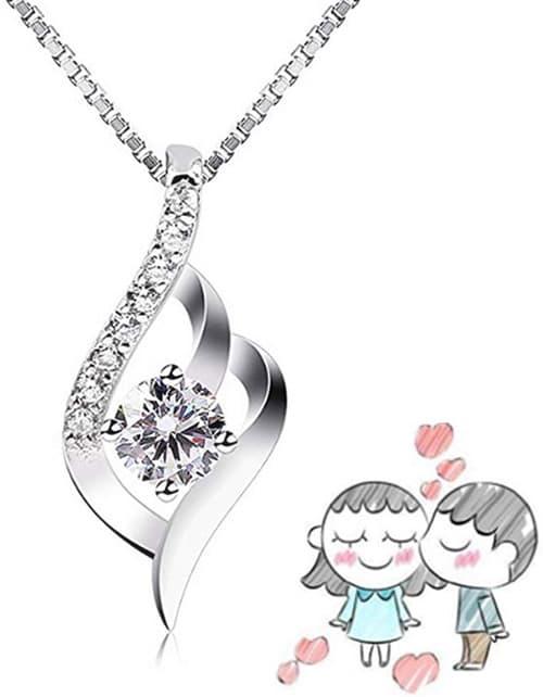 Stayoung Perla Collar Mujer Plata de Ley 925 con para Originales Cadena 45cm Longitud Caja Incluye (Eres el Amor de mi Vida)
