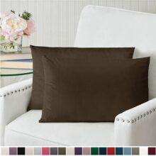 """The Connecticut Home Company - Juego de 2 fundas de almohada de terciopelo de lujo, suaves y decorativas, para cama, sala, recámara, sofá, Chocolate, Set of 2 (12"""" x 20""""), 1"""