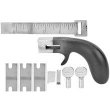 Herramientas de corte de correa de cuero profesional, cortadora manual de correa de bricolaje con mango de aluminio para artesanía de cuero