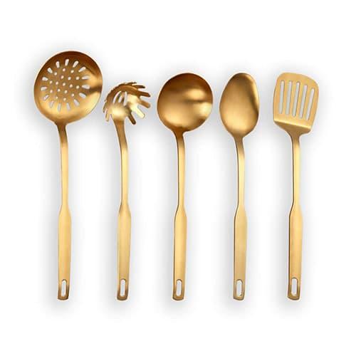 Berglander Utensilio de cocina de acero inoxidable de 5 piezas con titanio chapado en oro, sintonizador ranurado, cucharón, espumadera, cuchara para servir, servidor de pasta Juego de herramientas de cocina doradas (mate dorado)
