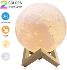 Lámparas luna 3D, Sebami Luz Nocturna Luna LED Lampara Luna control táctil Brillo con puerto de carga USB Luz de Noche Ambiente Lámparas para Niños Bebé Regalo de Fiesta Decoración (12 cm)