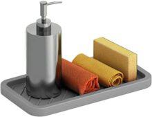 Cómoda bandeja de silicona para fregadero – Organizador para tu jabón, esponja, fregadero y más – Bandeja de silicona multiuso – antideslizante, resistente al calor y apto para lavaplatos – Esponja para platos, gris